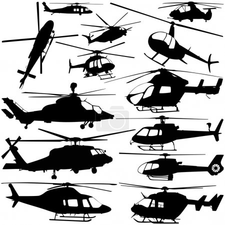Illustration for Collection of helicopter set vector - Royalty Free Image