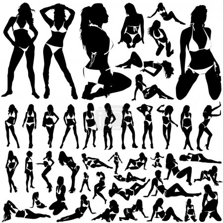 Collection of women in bikini vector