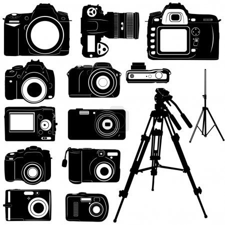Dijital photo camera and tripod vector