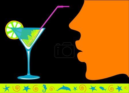 Illustration pour Cocktail exotique et vecteur femme - image libre de droit