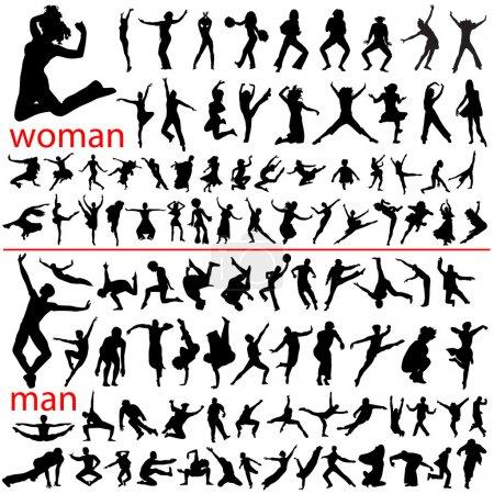 100 jumping , woman and man