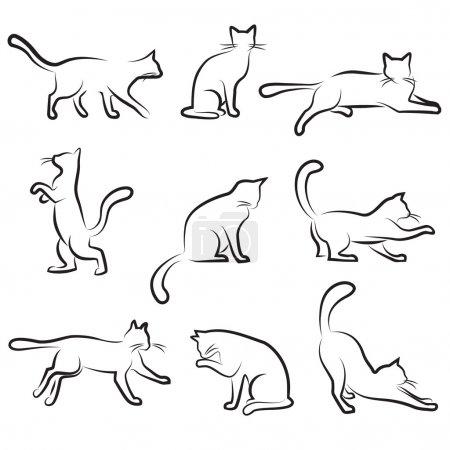 Illustration pour Jeu de dessins de chat - image libre de droit