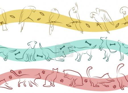 Illustration pour Ensemble de motif animal - image libre de droit