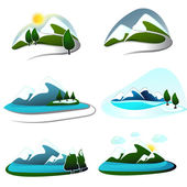 Mountain design elements set