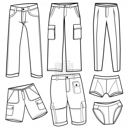 Men s trousers, short and underwear set