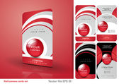 Red business cards set