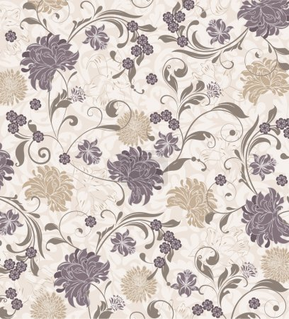 Illustration for Floral seamless pattern, vector design - Royalty Free Image