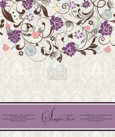Purple vintage damask invitation cardr