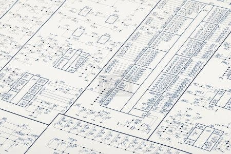 Photo for Detailed drawing of electrical circuits - Royalty Free Image