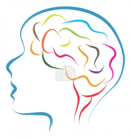 Illustration for Abstract illustration of head and brain in brush style drawing - Royalty Free Image