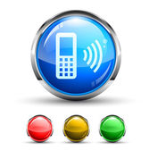 Cellular Network Cristal Glossy Button