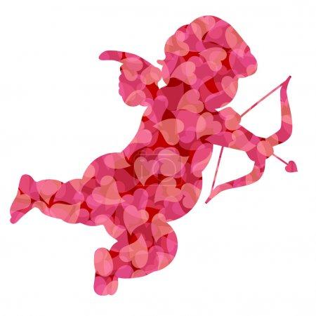 Photo pour Mignon silhouette de Cupidon de Saint Valentin avec motif rose coeurs illustration isolé sur fond blanc - image libre de droit
