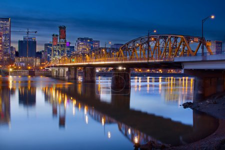 Photo for Hawthorne Bridge Over Willamette River In Portland Oregon Downtown Waterfront at Blue Hour - Royalty Free Image