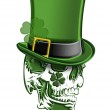 St Patricks Day Green Skull with Leprechaun Hat wi...