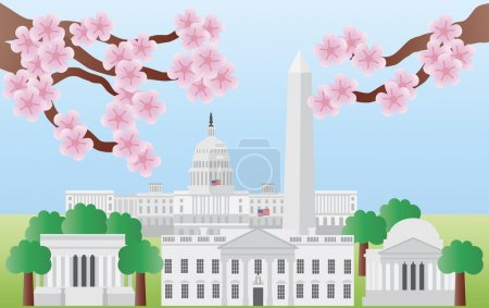 Washington DC Landmarks with Cherry Blossom