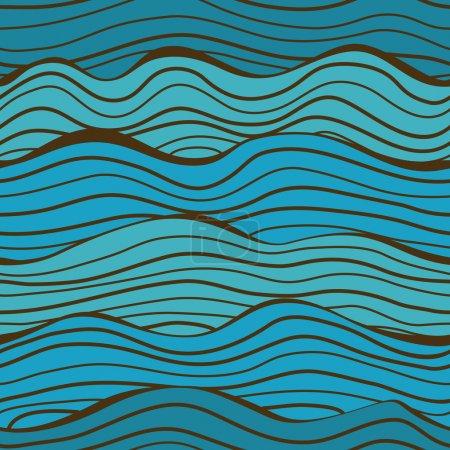 Illustration for Seamless blue waves pattern. Vector illustration. - Royalty Free Image