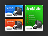 Special Offer Banner Set Vector Colored 1: Blue Red Green Showing Products Purchase Button