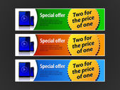 Special Offer Banner Set Vector Colored 5: Blue Red Green Showing Products Purchase Button Pad