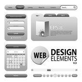 Round Corner Web Design Graphite Gray Elements: Buttons Form Slider Scroll Icons Tab Menu Navigation Bar Login Calendar Accordion Template Version 3