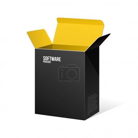 Illustration pour Boîte de paquet de logiciel ouvert noir à l'intérieur jaune orange - image libre de droit