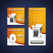 3 Software Banners With Open White Box And CD Disk Yellow Orange