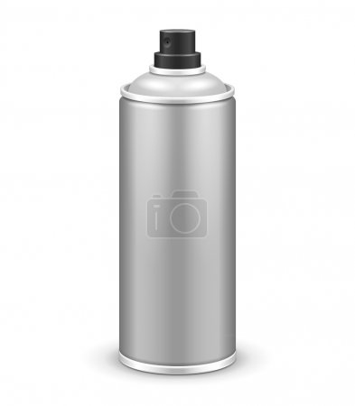 Illustration for Gray Aerosol Spray Metal 3D Bottle Can: Paint, Graffiti, Deodorant EPS10 - Royalty Free Image