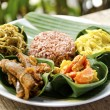 Indonesian food in bali, several curries and rice...