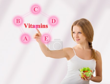 Beautiful girl with salad choose foods rich in vitamins