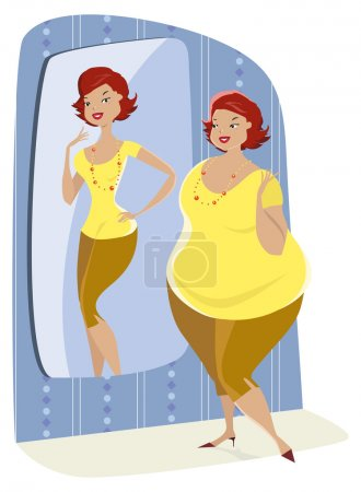 Illustration for Full lady enjoys her slim reflection in the mirror - Royalty Free Image