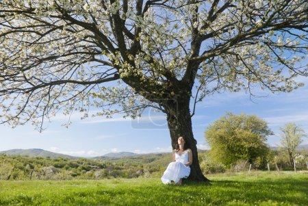 Photo pour Belle jeune femme se penchant sur un cerisier en fleurs se sentir un avec la nature - image libre de droit