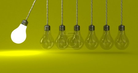 Photo for Illustration of the pendulum from lamps on a yellow background - Royalty Free Image
