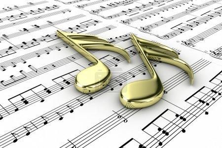 Photo pour Deux note de musique sur un fond de notes écrites - image libre de droit