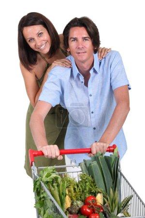 Couple food shopping
