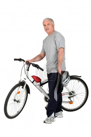 Middle-aged man with bike