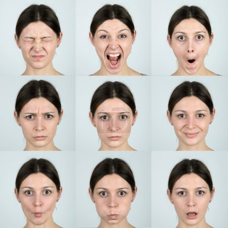 Photo for Facial Expressions with the real skin texture. - Royalty Free Image