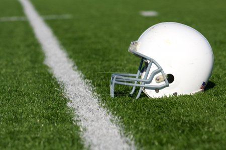 American Football Helmet on Field