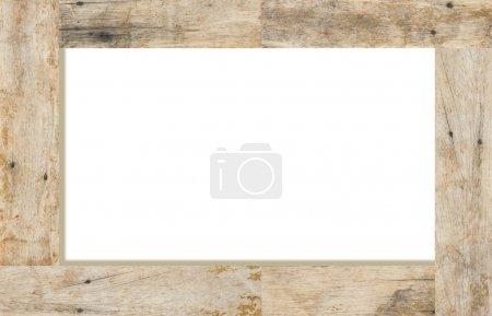 Photo pour Cadre en bois sur fond blanc, espace pour le texte - image libre de droit