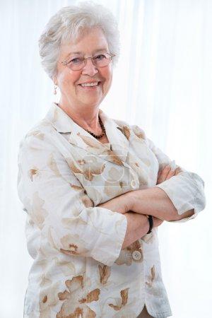 Happy senior woman smiling