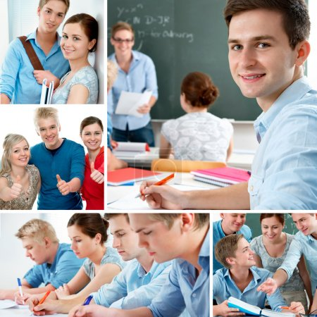 Photo for Various education related images in a collage - Royalty Free Image