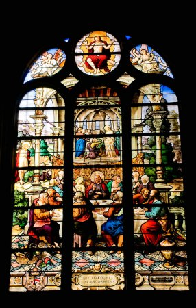 Stained glass window of Saint Etienne church in Paris 3