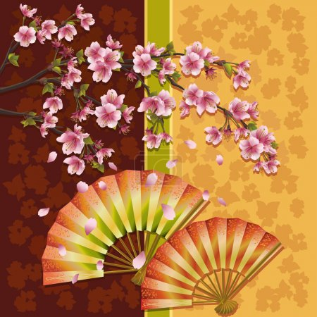 Illustration for Japanese ornamental background with two fans and sakura blossom- Japanese cherry tree, symbol of oriental culture, vector illustration - Royalty Free Image