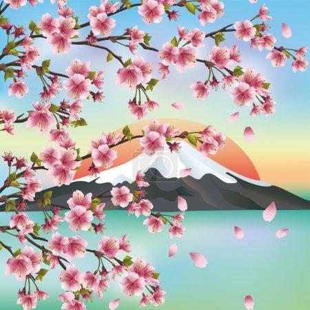 Illustration pour Arrière-plan japonais avec la montagne et la fleur de sakura cerisier japonais, symboles de la culture orientale. Beau paysage japonais, illustration vectorielle . - image libre de droit