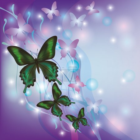 Illustration for Light glowing abstract background with butterflies, decorated with colorful wave and bubble - Royalty Free Image
