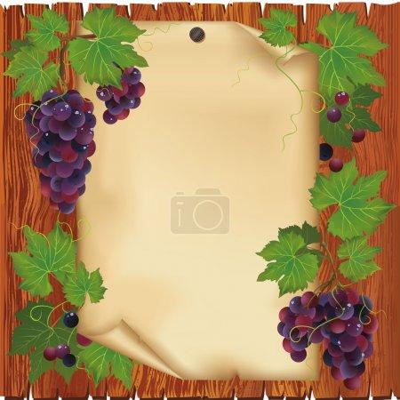 Illustration pour Arrière-plan avec raisin noir et vieux papier - place pour le texte sur carton en bois - image libre de droit