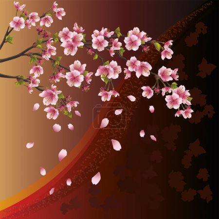 Illustration for Background with sakura blossom - Japanese cherry tree and pattern - Royalty Free Image
