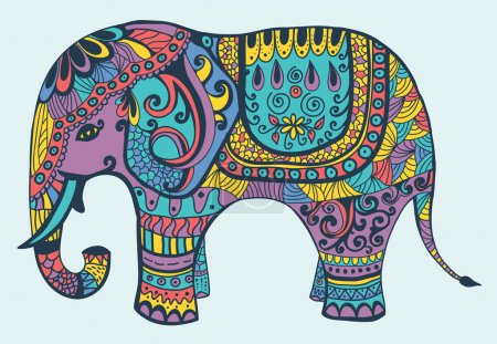 Illustration for Sylized vector patterned elephant in violet, yellow, turquoise and coral tones - Royalty Free Image