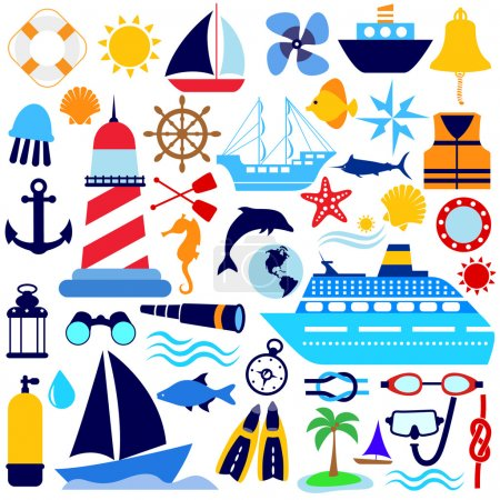 Illustration for Nautical icon set - Royalty Free Image