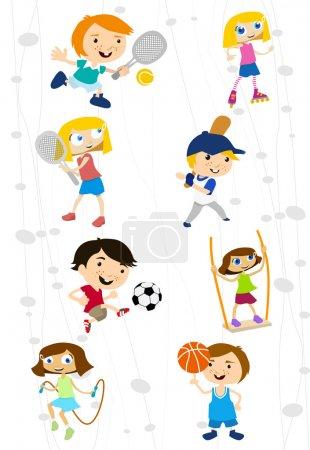 Cartoon sport kids