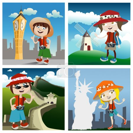 Travel concept cartoon characters