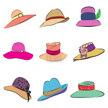 Illustration for Women hats set vector - Royalty Free Image